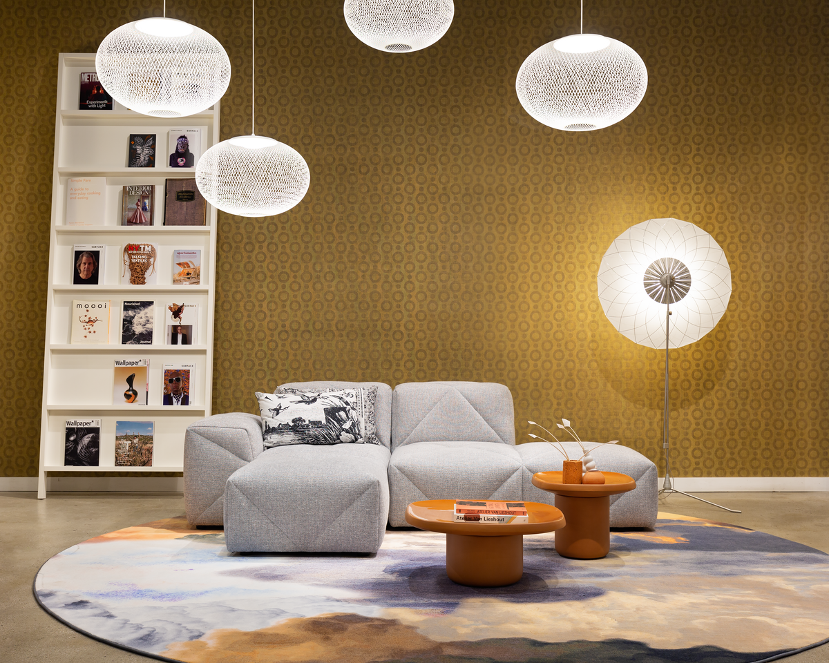 Interior of New York Showroom with BFF Sofa, NR2 suspension light and Oblique