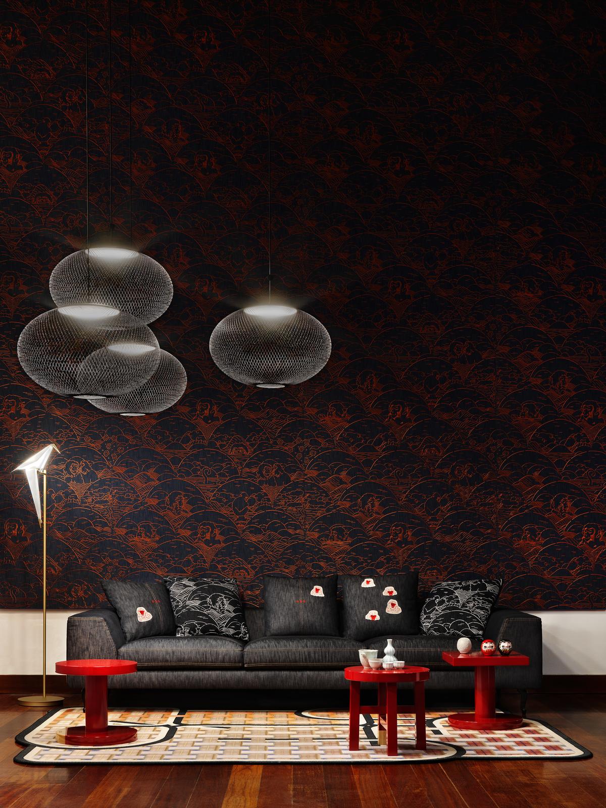 Impression of Milan 2019 with NR2 suspension light, ZLIQ Sofa and Perch Floor Lamp