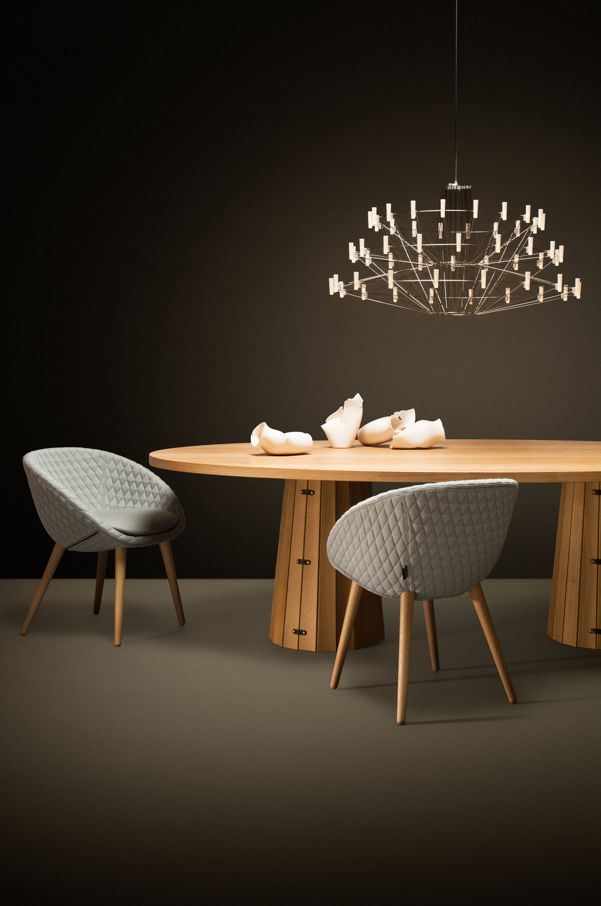 Poetic composition Container Table, Love Dining Chair and Coppelia Suspended light