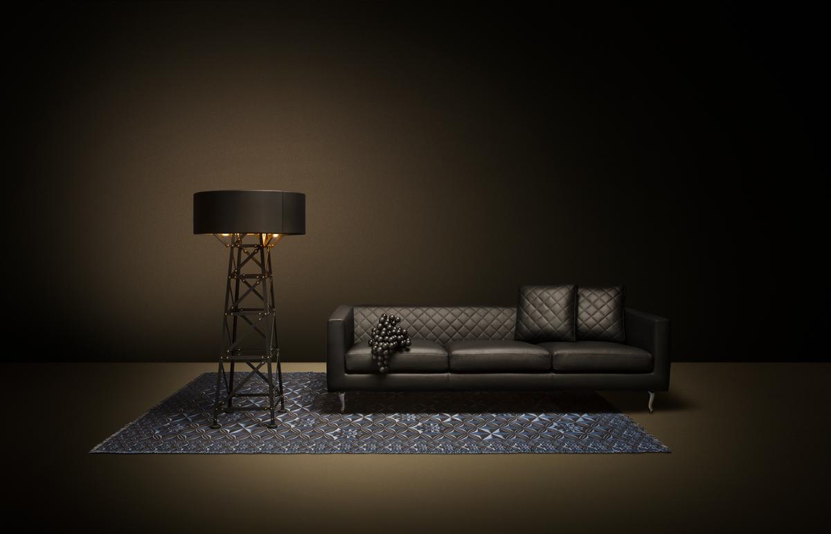 Poetic composition Boutique Sofa, Construction Lamp and Moooi Carpet