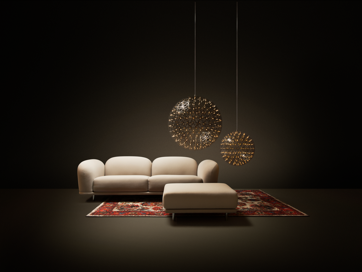 Poetic composition Cloud Sofa, Cloud Footstool, Raimond suspension light two sizes and Moooi carpet