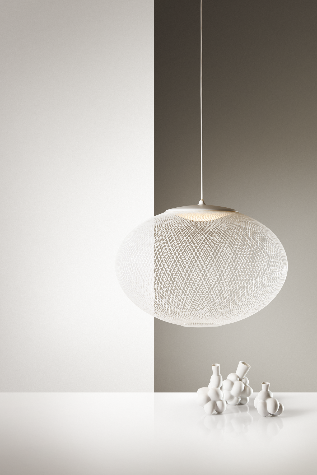 Poetic composition NR2 suspension light and Egg Vase