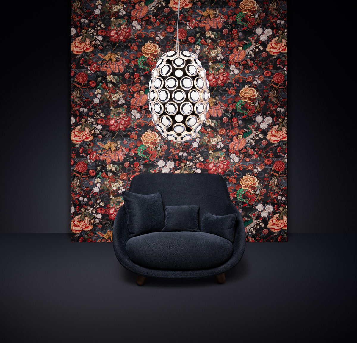 Poetic composition with Love Sofa and Iconic Eyes suspension light