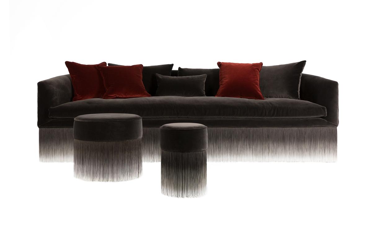 Amami brown velvet sofa with red velvet pillows