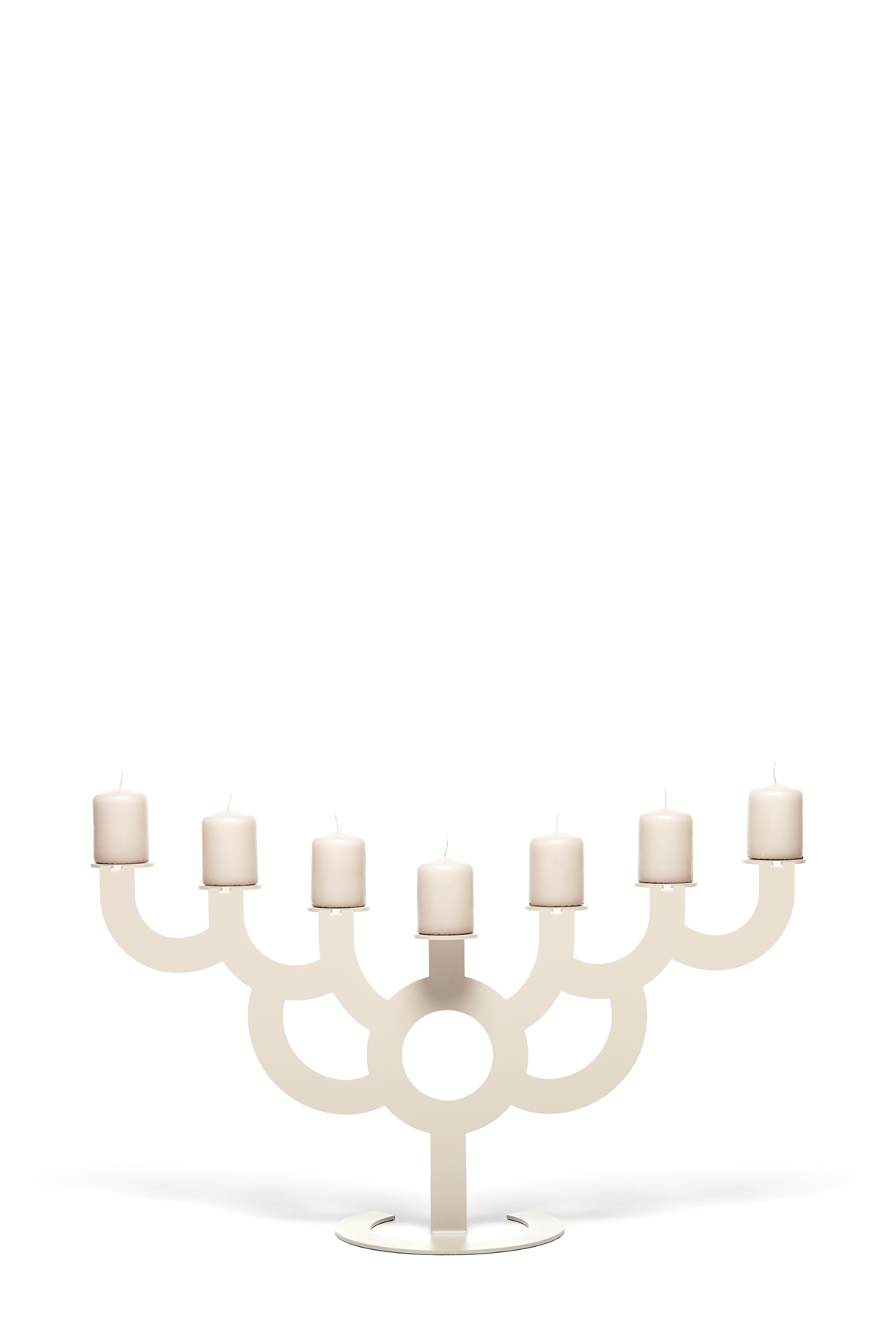 Menorah Bold candle holder satin front view with candles