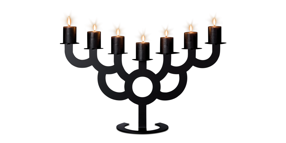 Bold black with burning candles front view