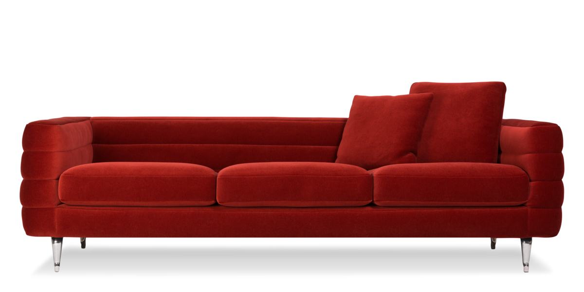 Boutique Botero Triple Seater sofa red front view with pillows