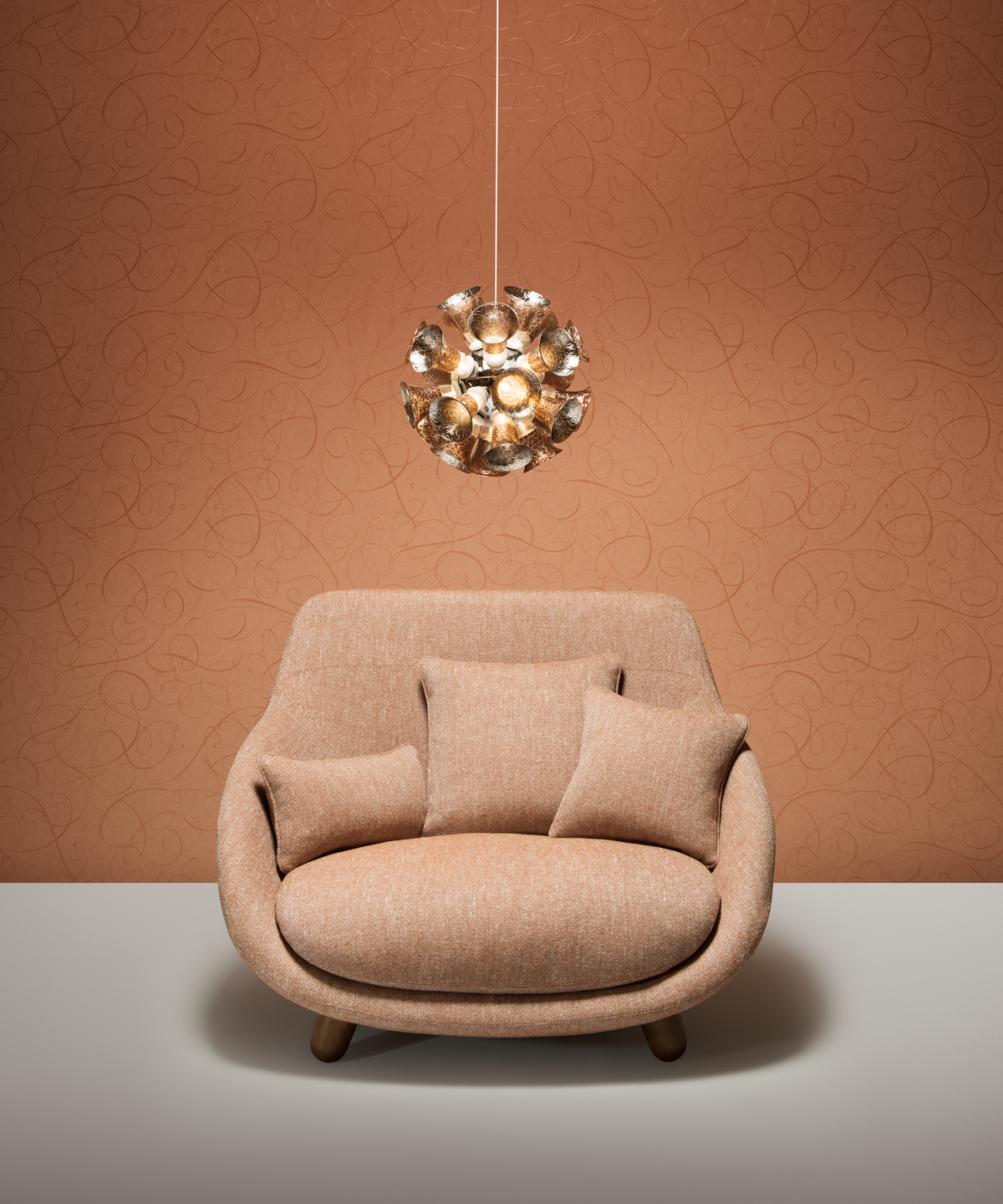 Poetic composition Love Sofa Highback, Chalice 24 Metallic Grey and Moooi Wallcovering