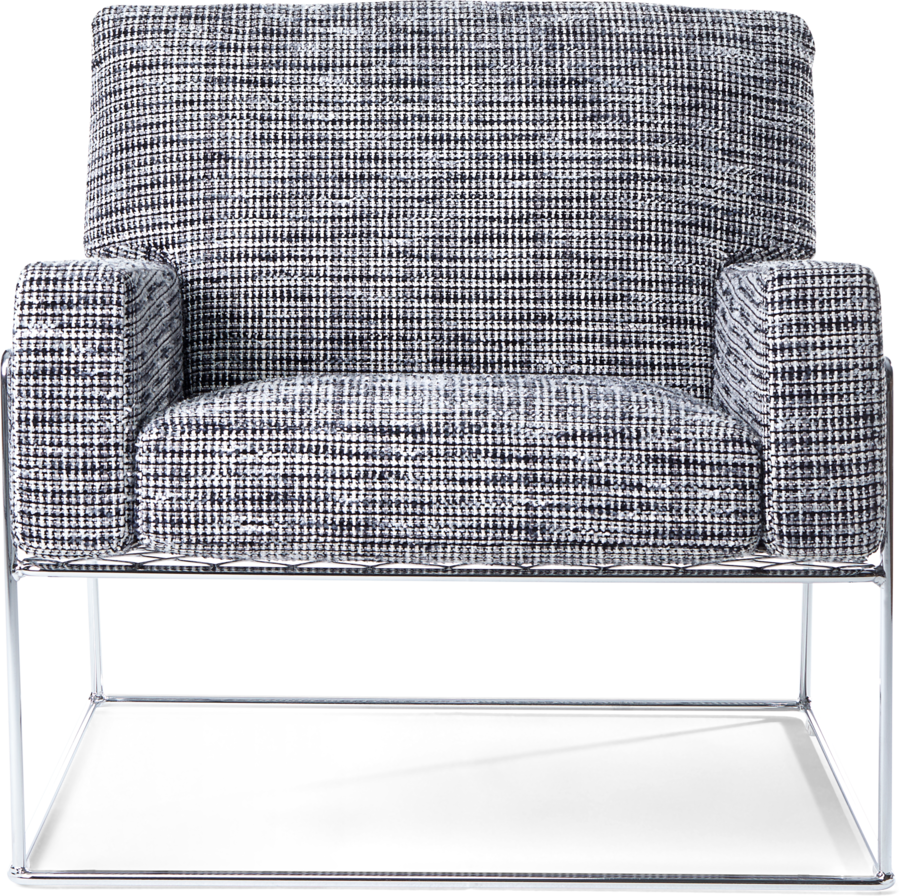 Charles Chair Bouclé Black White front side