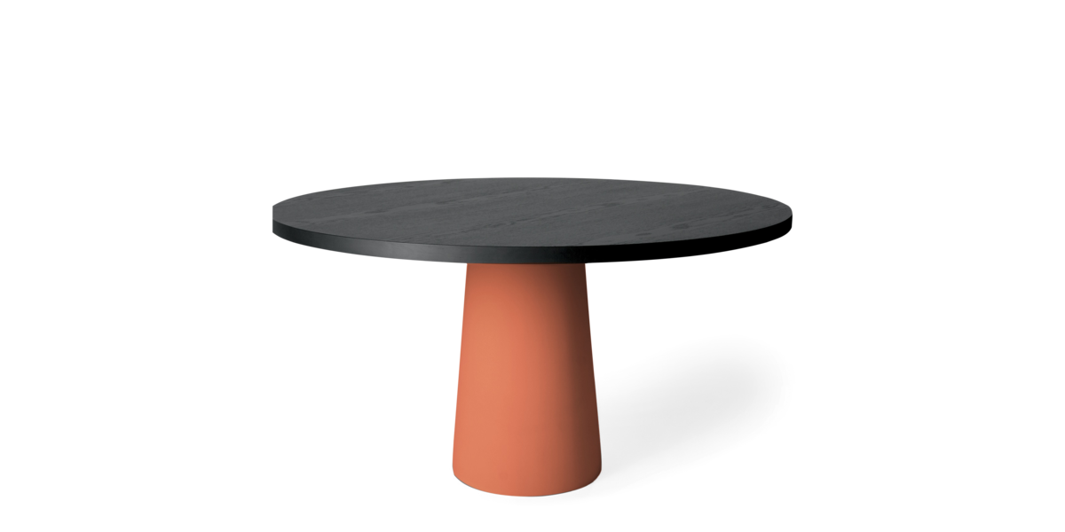 Container Table dining terracotta foot with round black stained oak top diameter 140 front view