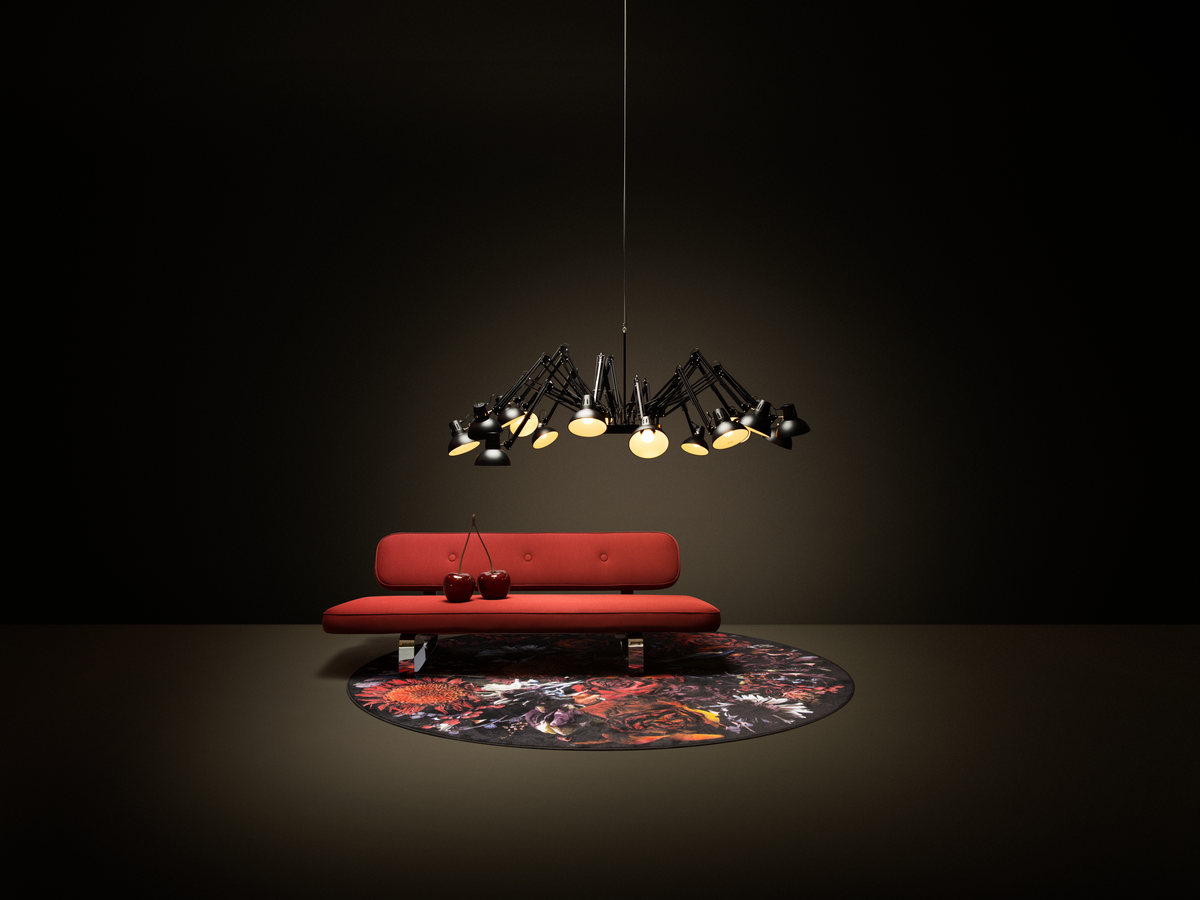 Poetic composition Power Nap sofa, Dear Ingo suspension light and Moooi Carpet