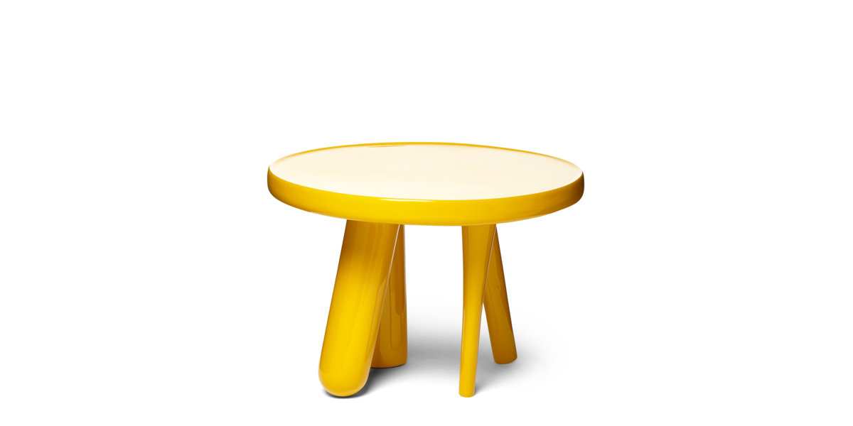 Elements 002 side table gold yellow front view