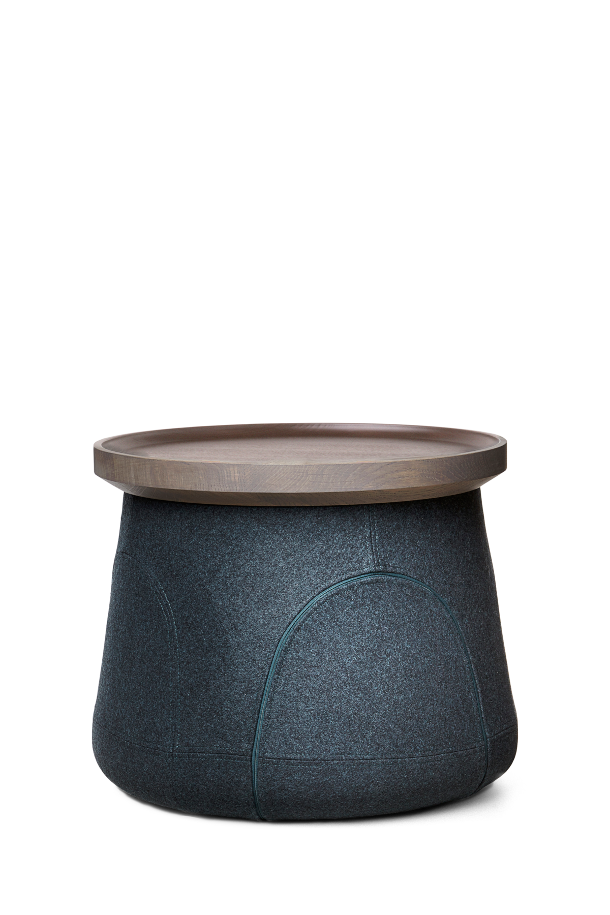 Elements 006 side table blue base grey stained oak top front view