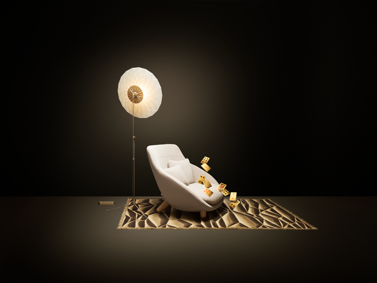 Poetic composition Love Sofa , Filigree Floor Lamp and Moooi Carpet