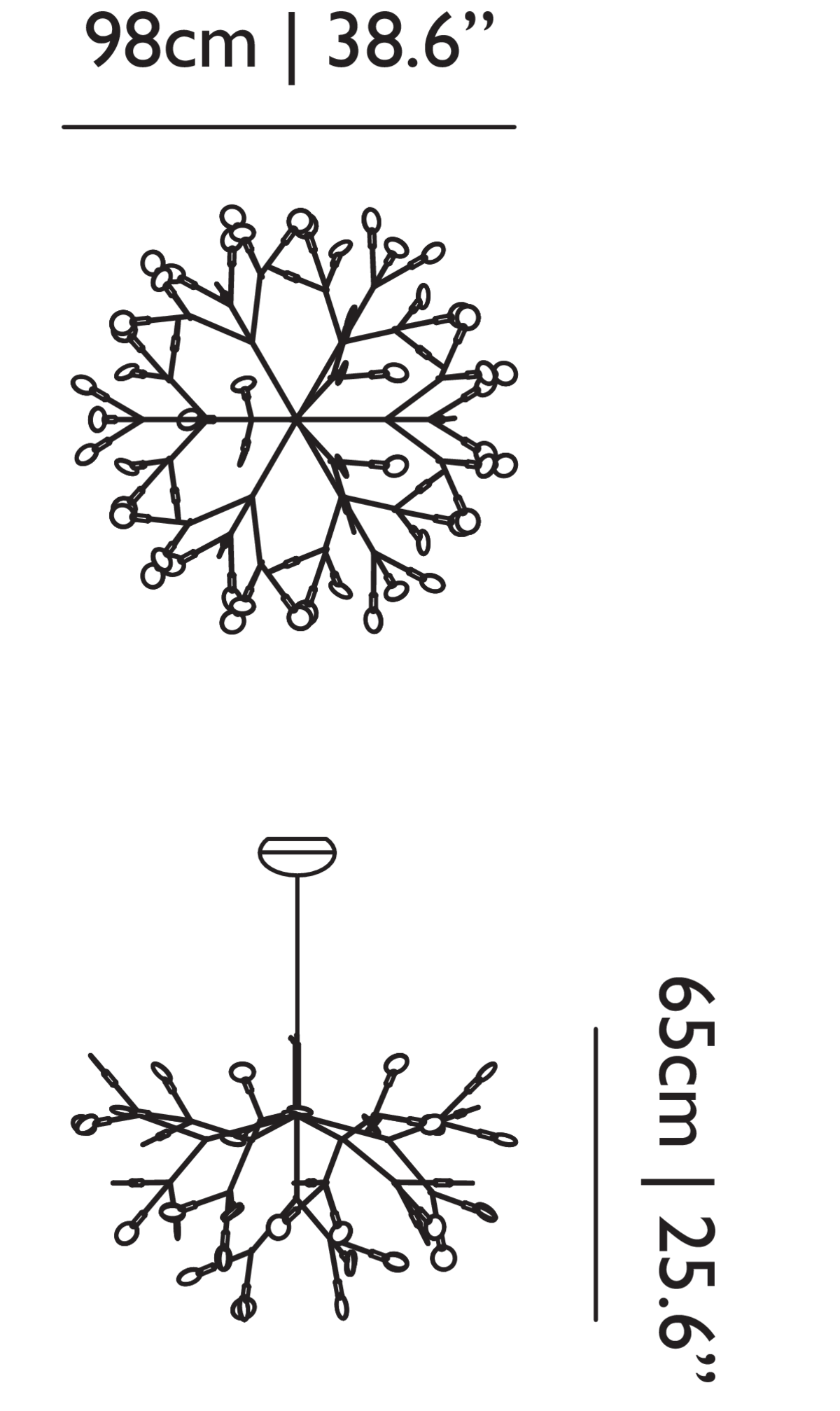 Heracleum II suspension light linedrawing with dimensions