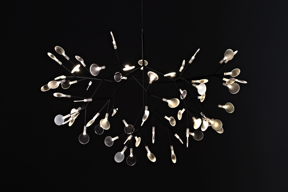 Heracleum II suspension light Nickel front side black background