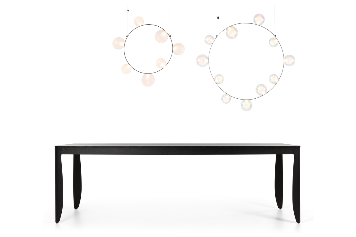 Composition of Hubble Bubble suspension light and Monster Dining Table