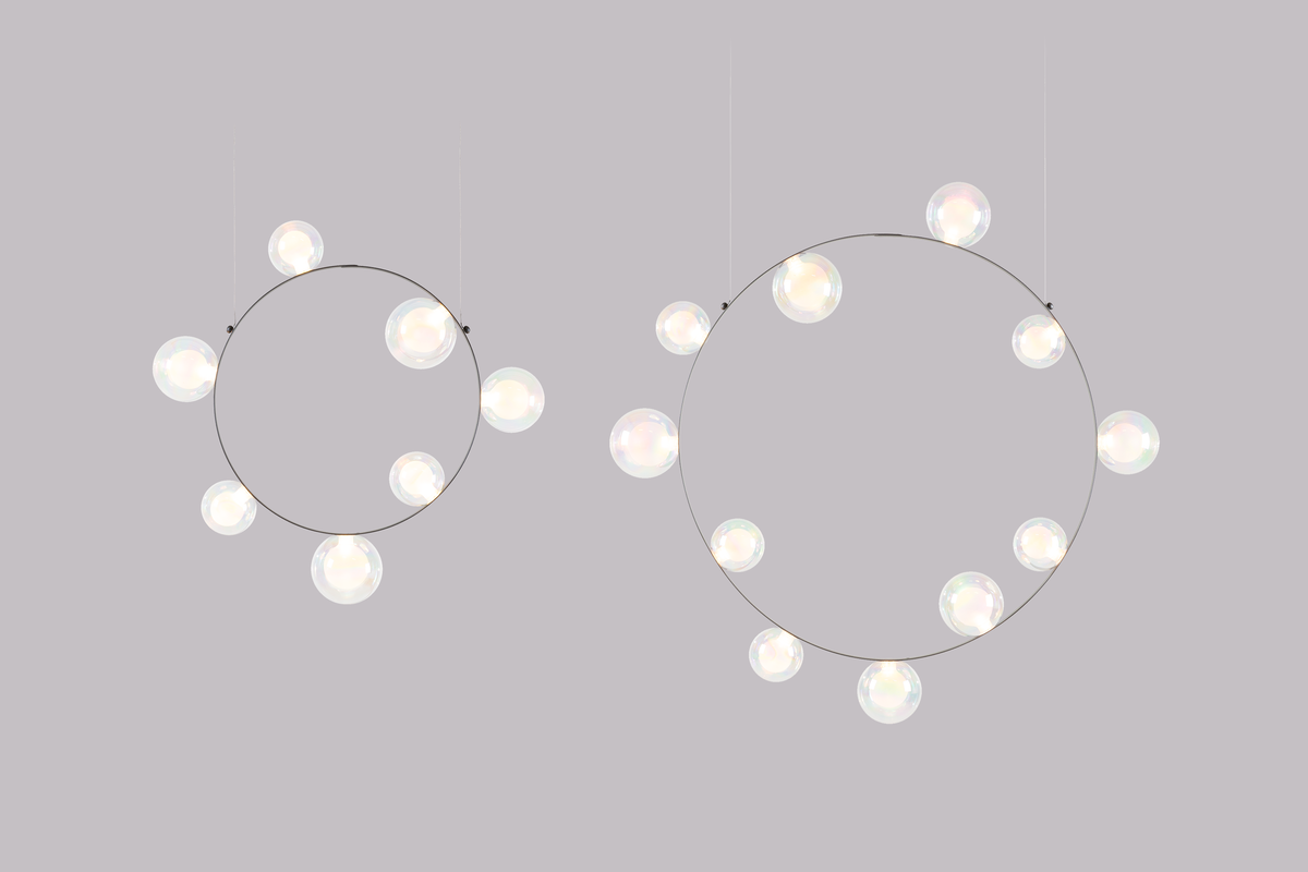 Hubble Bubble suspension light both sizes grey background