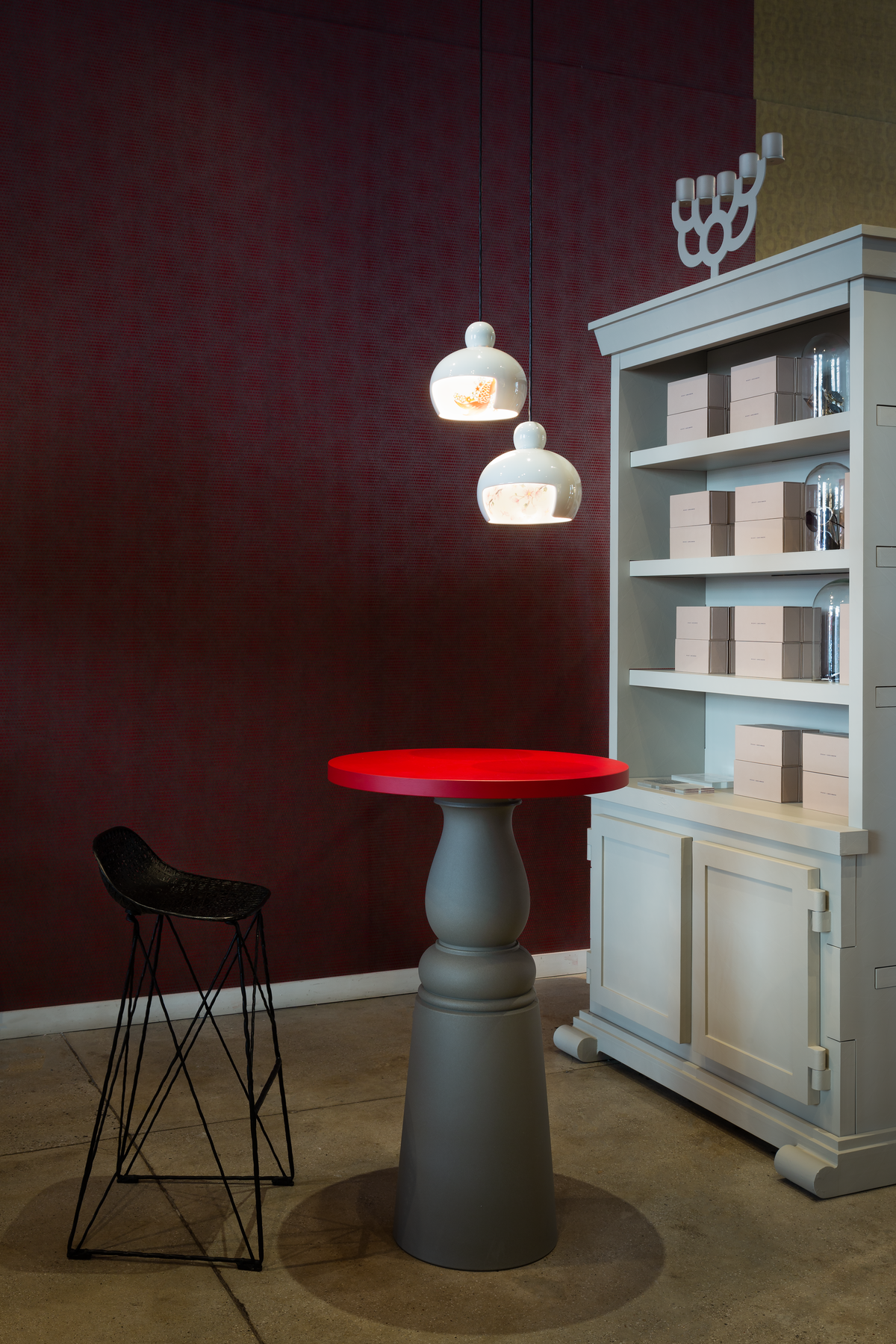 Interior with Container Table, Carbon Bar Stool and Juuyo suspension light