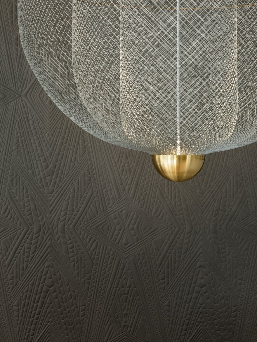 Interior of Amsterdam Showroom with Meshmatics Chandelier detail