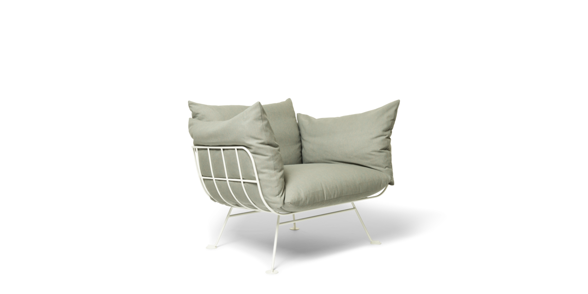 Nest Armchair Alfresco Dazzle with satin white frame front view