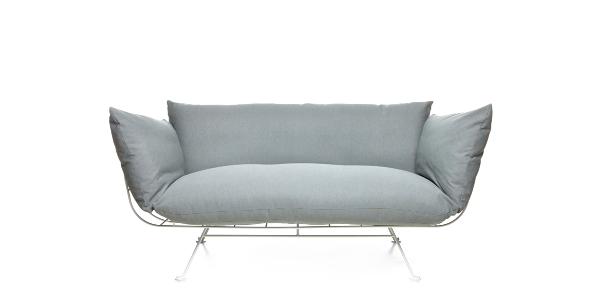 Nest Sofa grey with satin white frame front side
