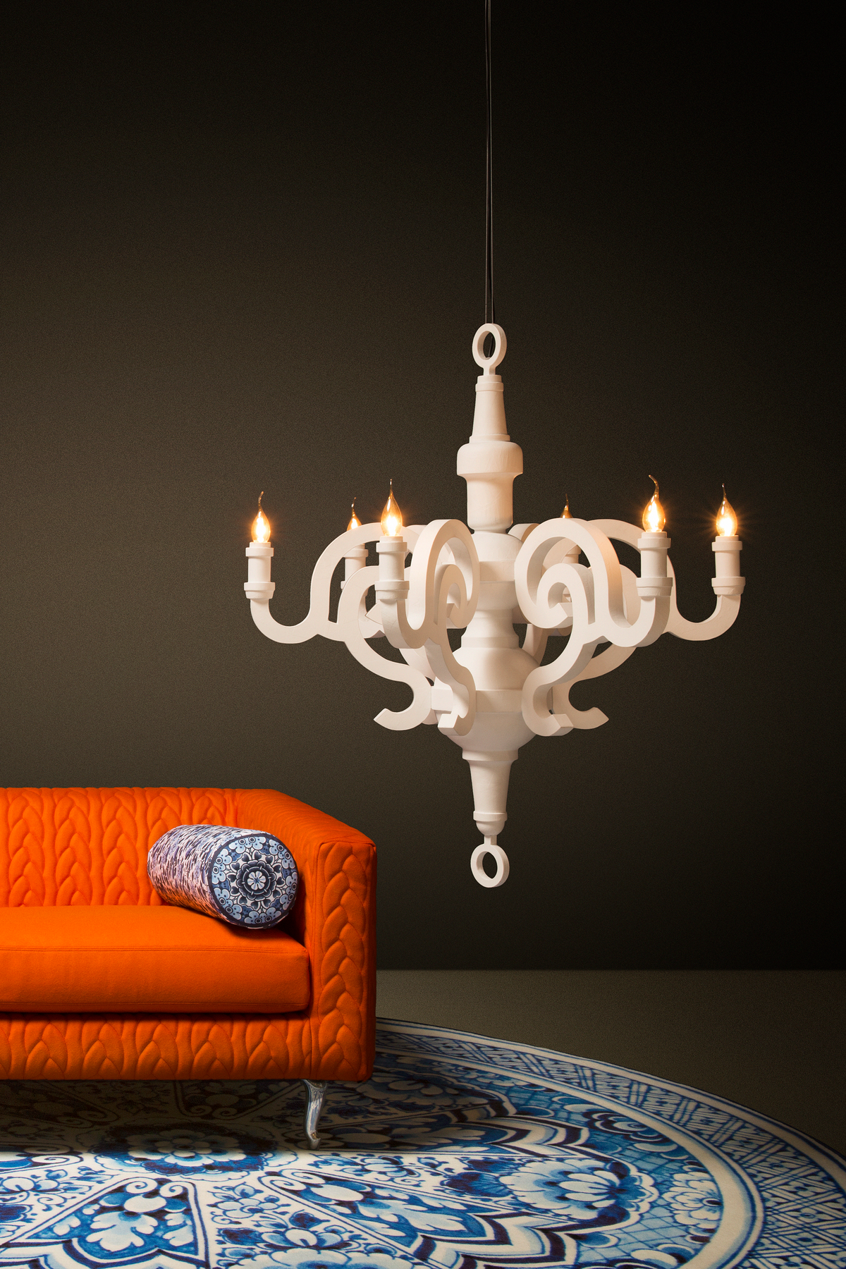 Poetic composition Paper Chandelier and Boutique Sofa