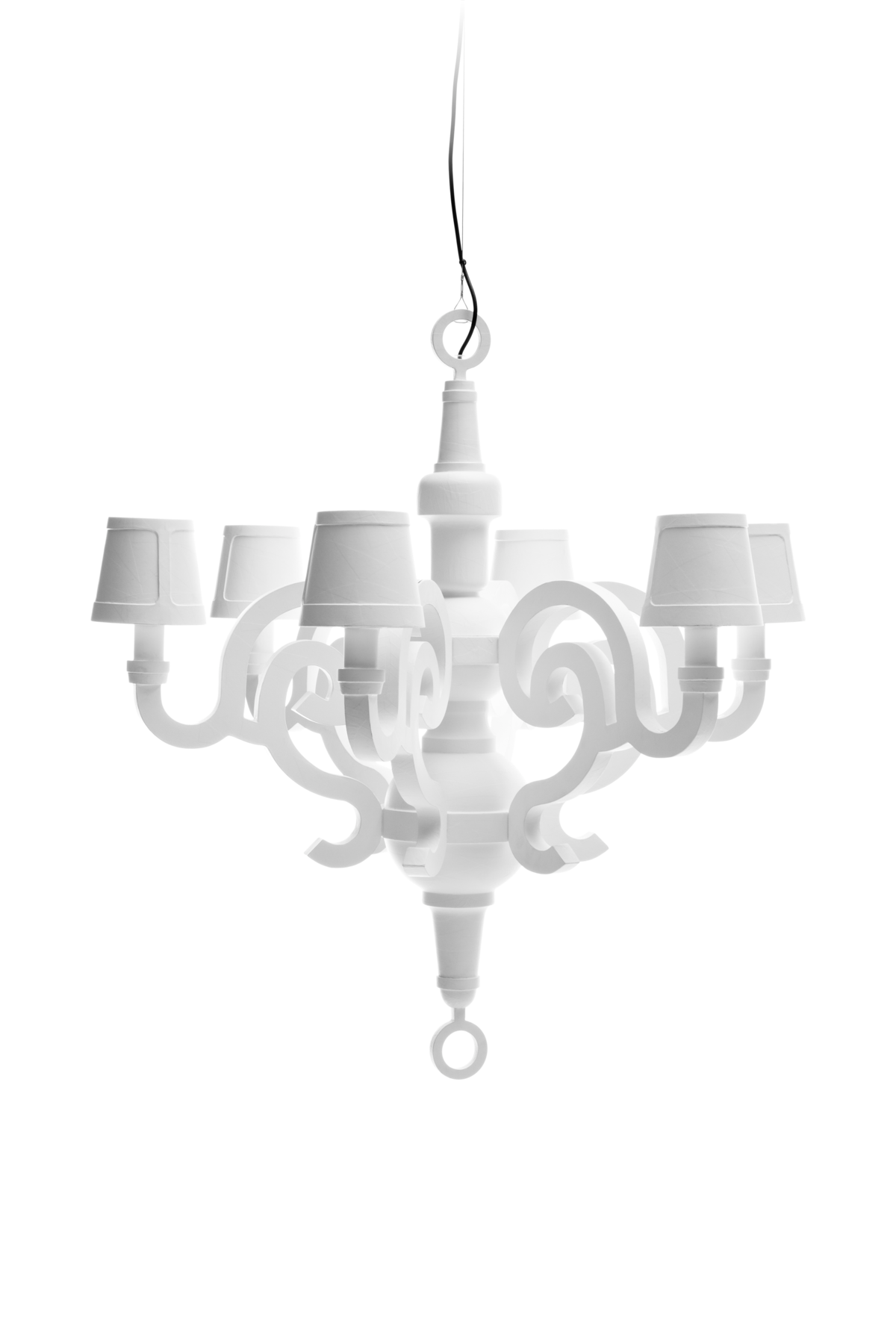 Paper Chandelier L white with shades front side