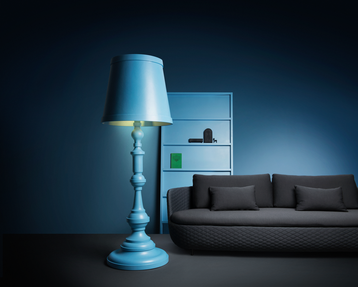 Poetic composition Paper Floor Lamp, Bart Sofa and Oblique bookshelf