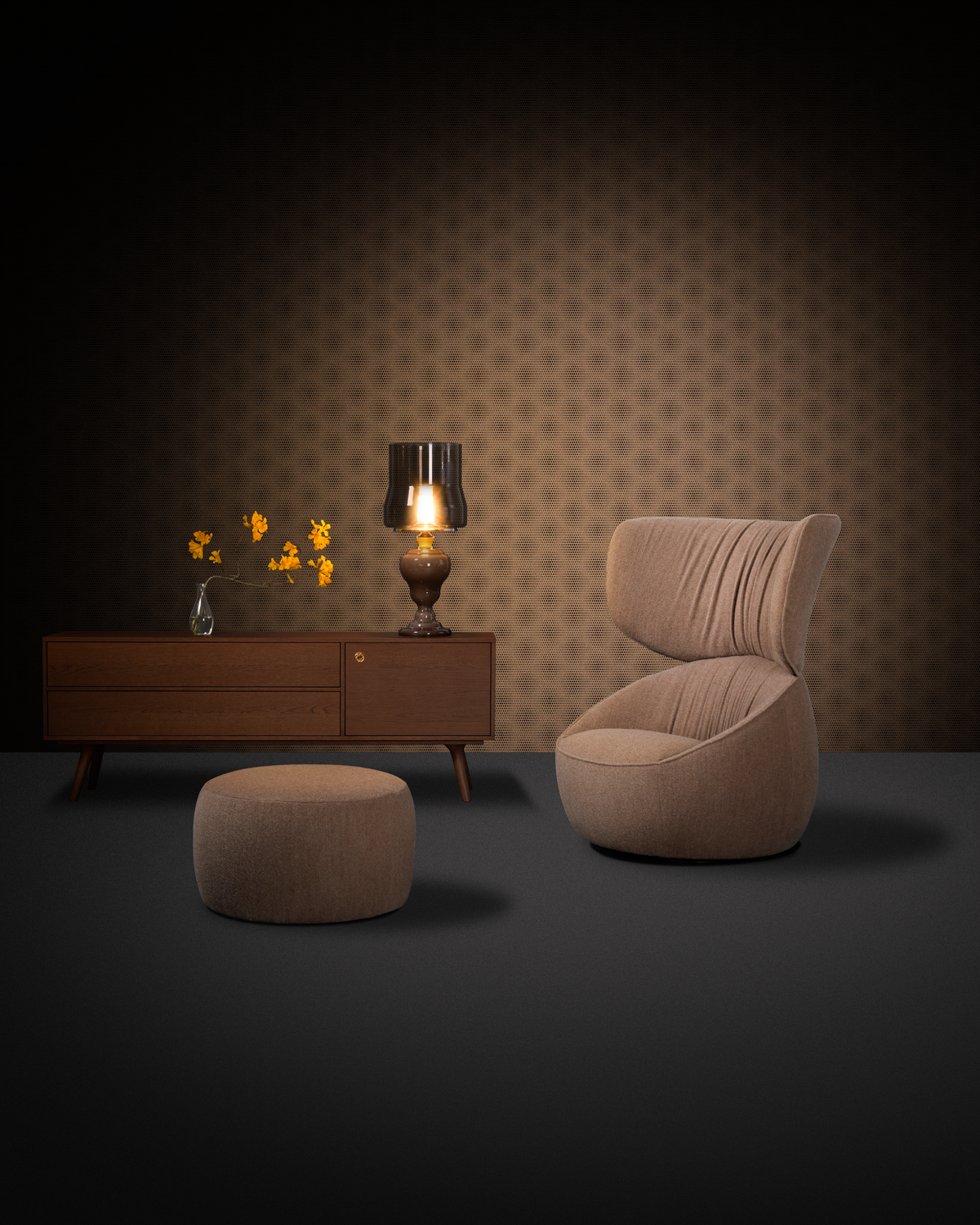 Composition with Hana Armchair Wingback and Pooof