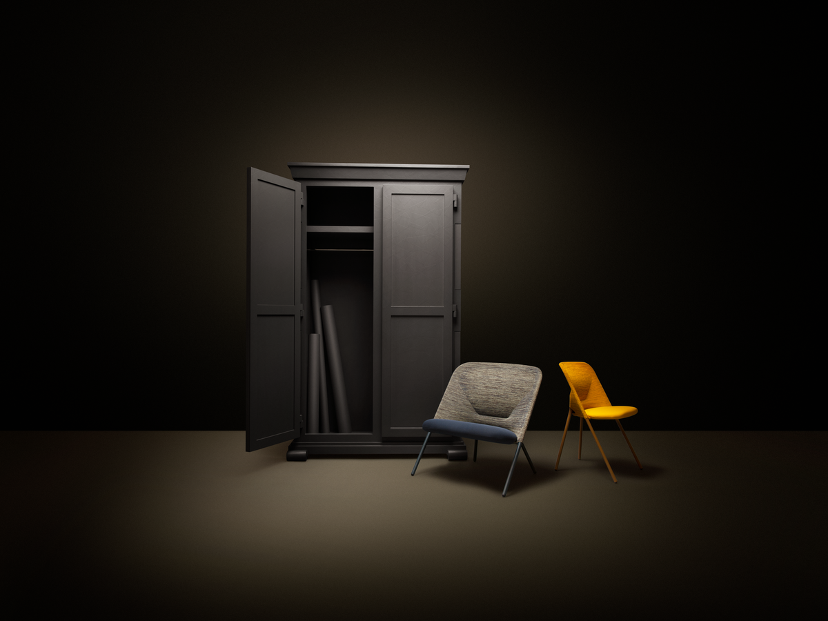 Poetic composition Paper Cupboard and Shift Lounge Chair