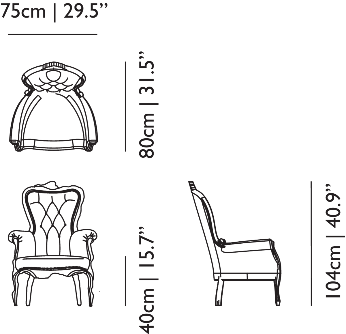 Smoke Armchair linedrawing with dimensions