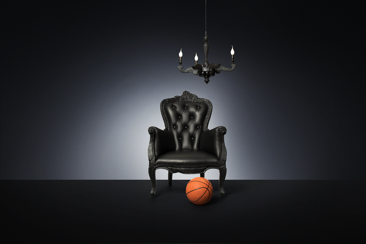 Poetic composition Smoke Armchair, Smoke Chandelier and a basketball