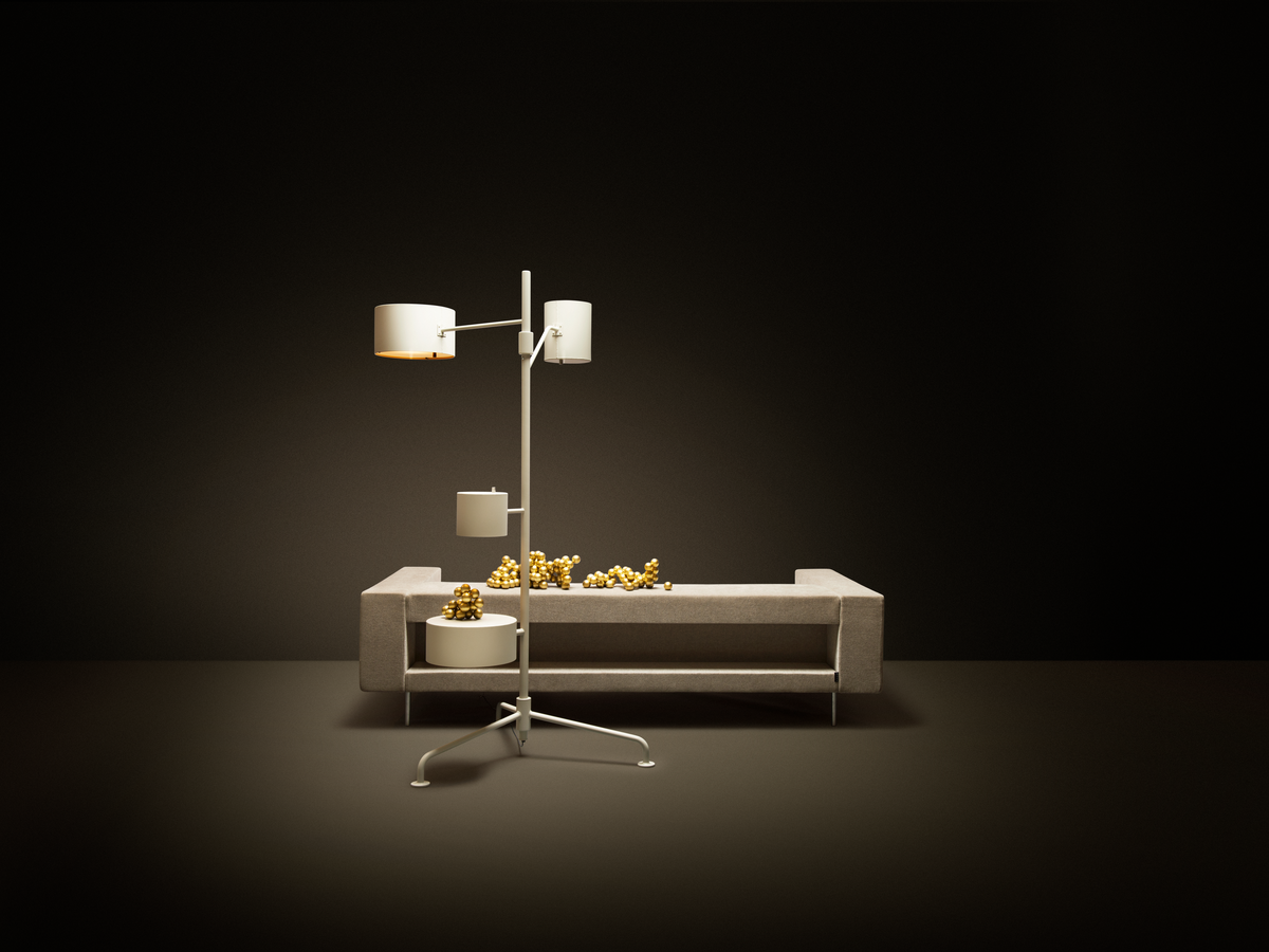 Poetic composition Bottoni Sofa and Statistocrat Floor Lamp
