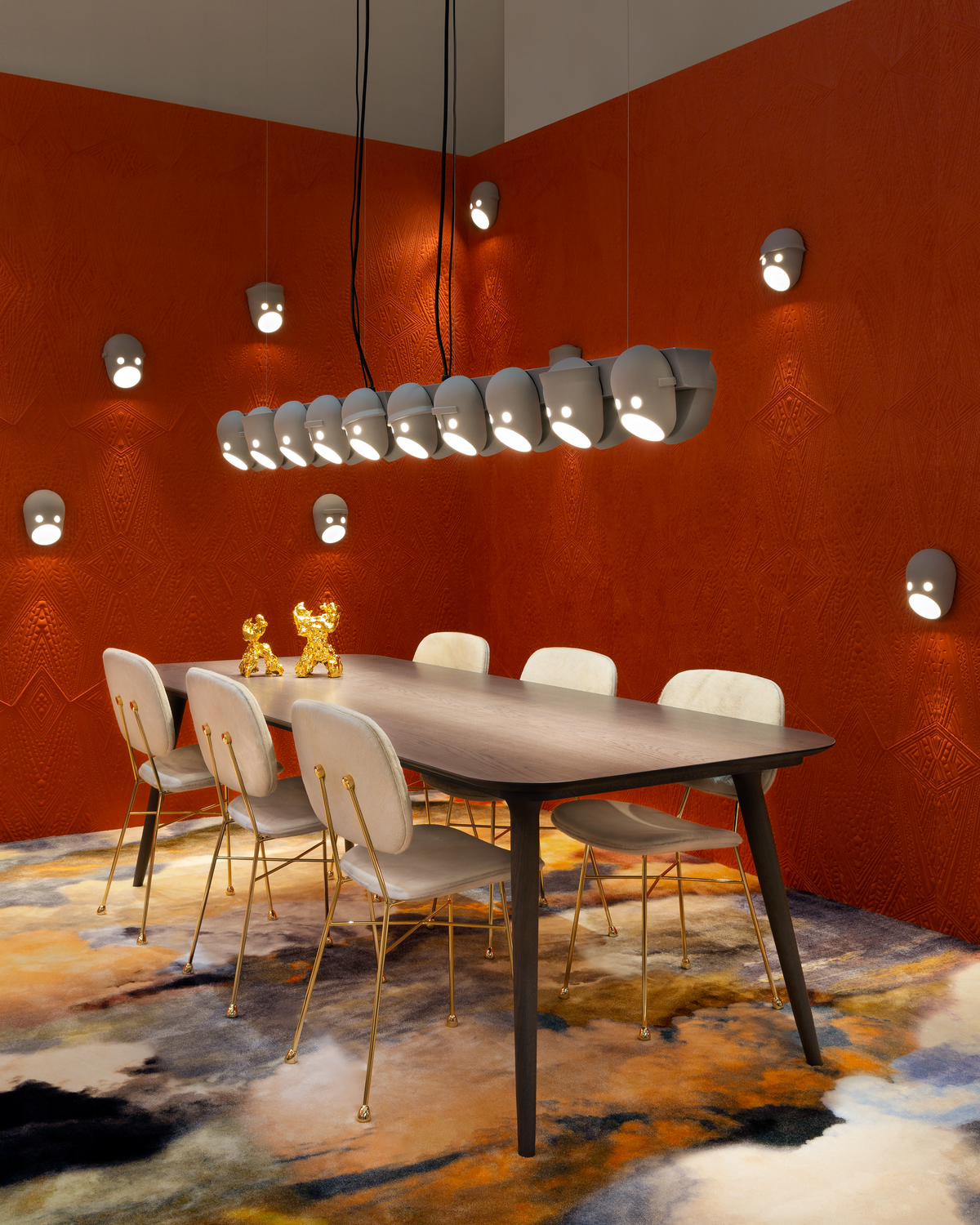 Interior Milan 2019 with The Party suspension light, The Party Wall Lamp and The Golden Chair