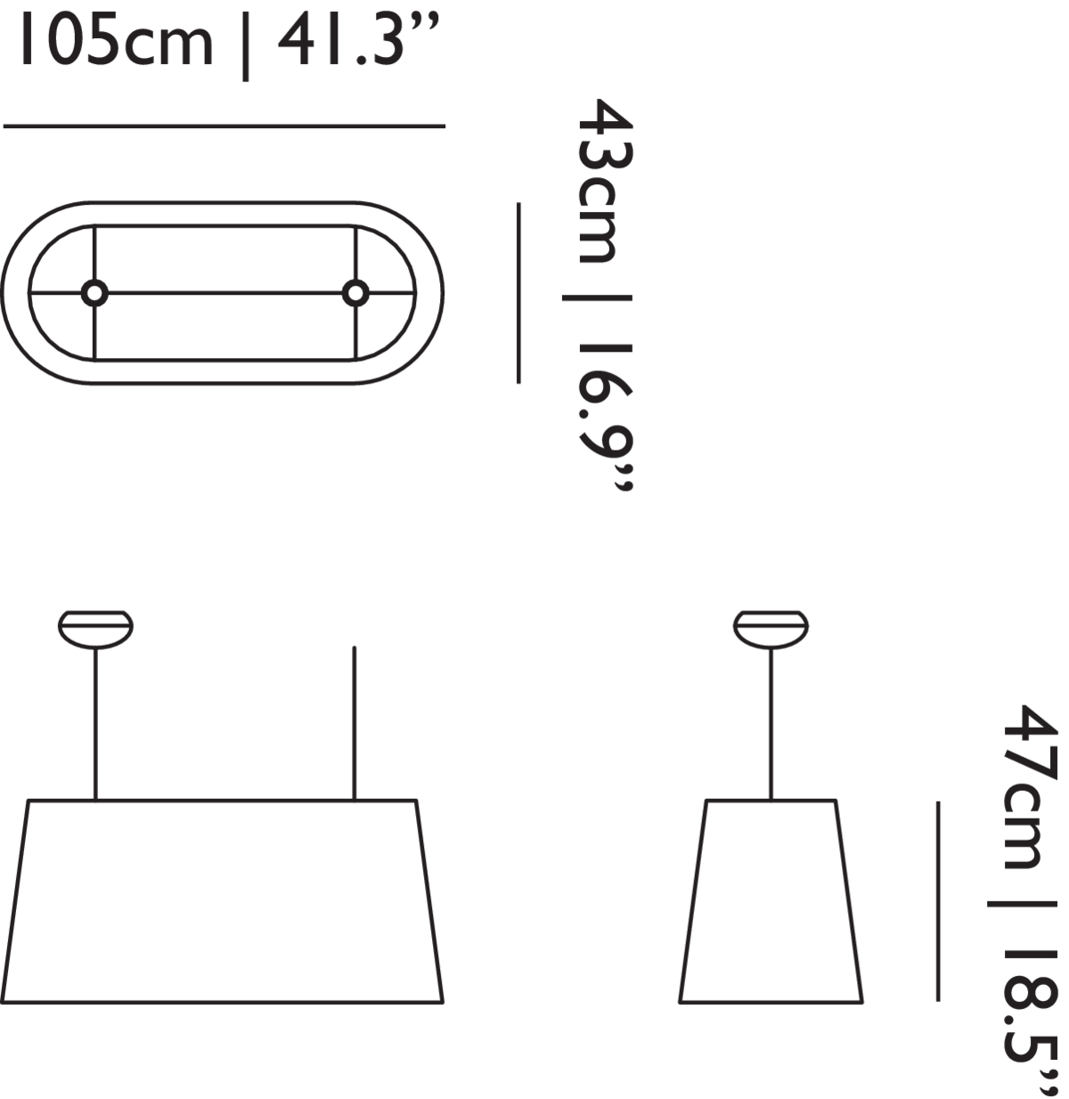 Oval Light suspension linedrawing with dimensions