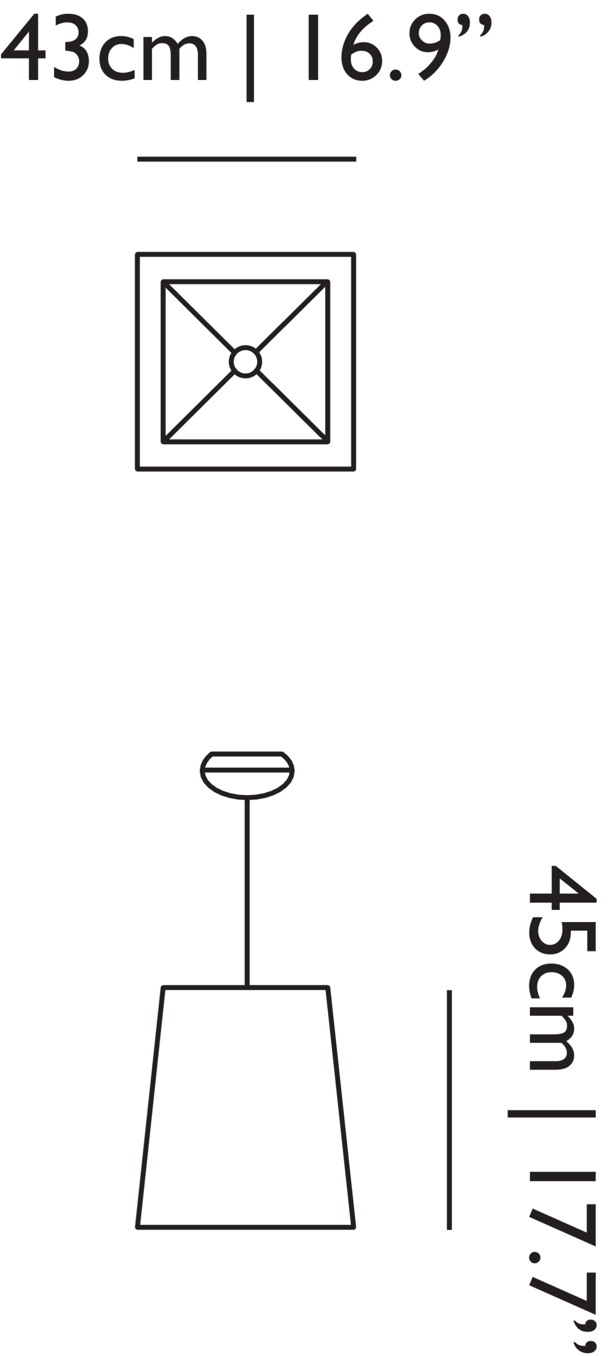 Square Light suspension linedrawing with dimensions