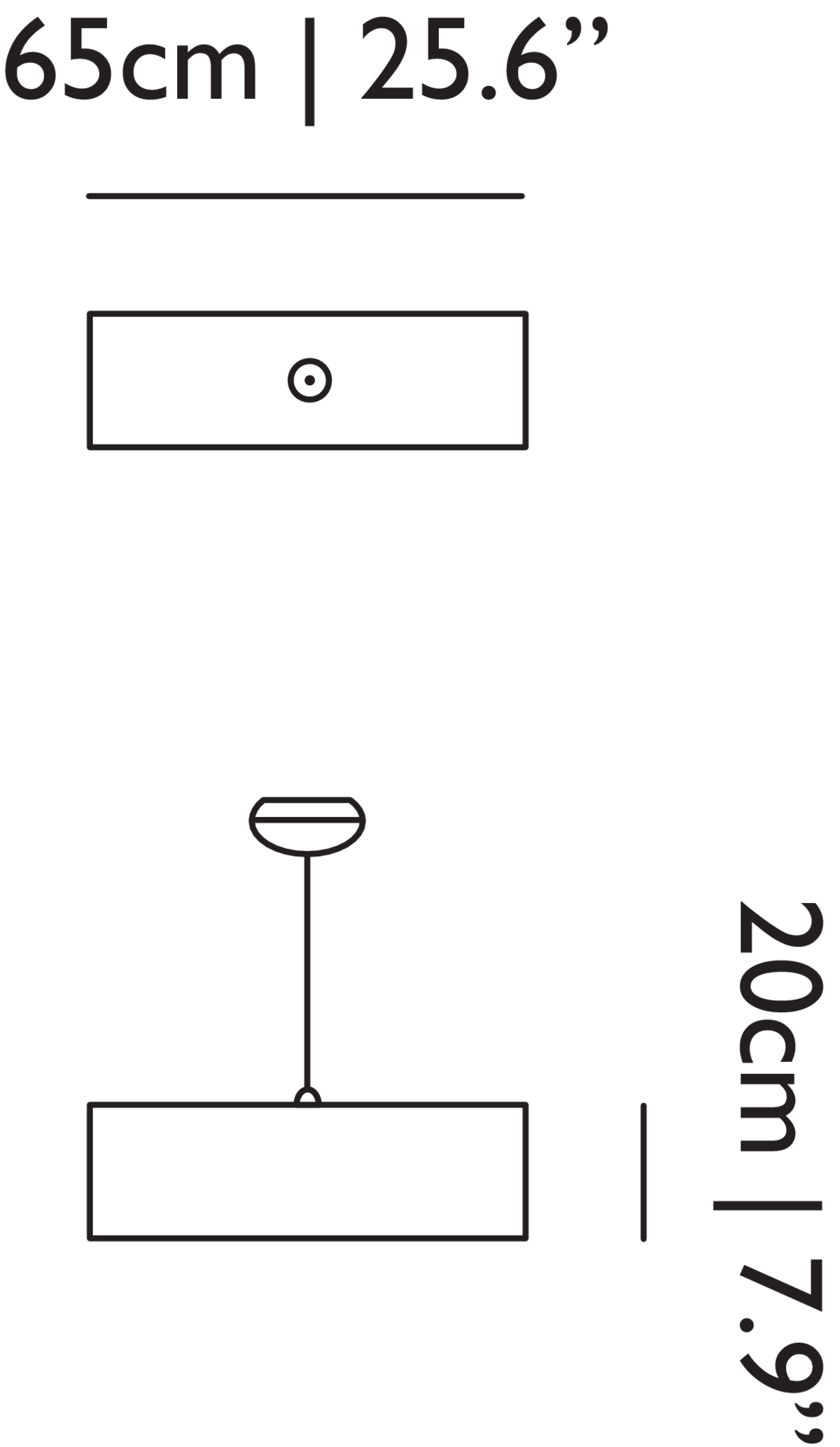 Tube suspension light linedrawing with dimensions