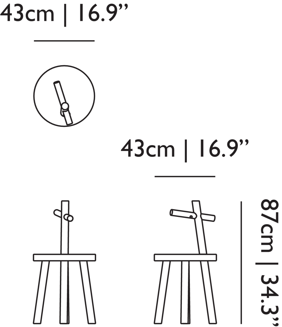 Woody side table linedrawing with dimensions