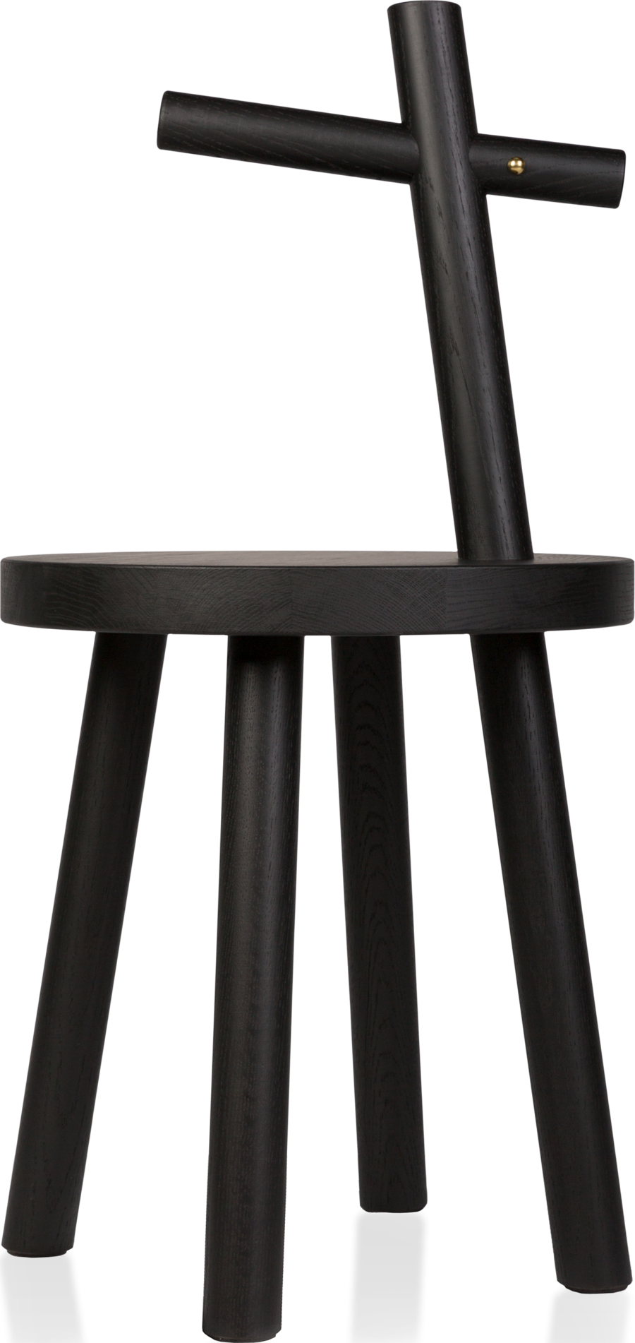 Woody side table black front view