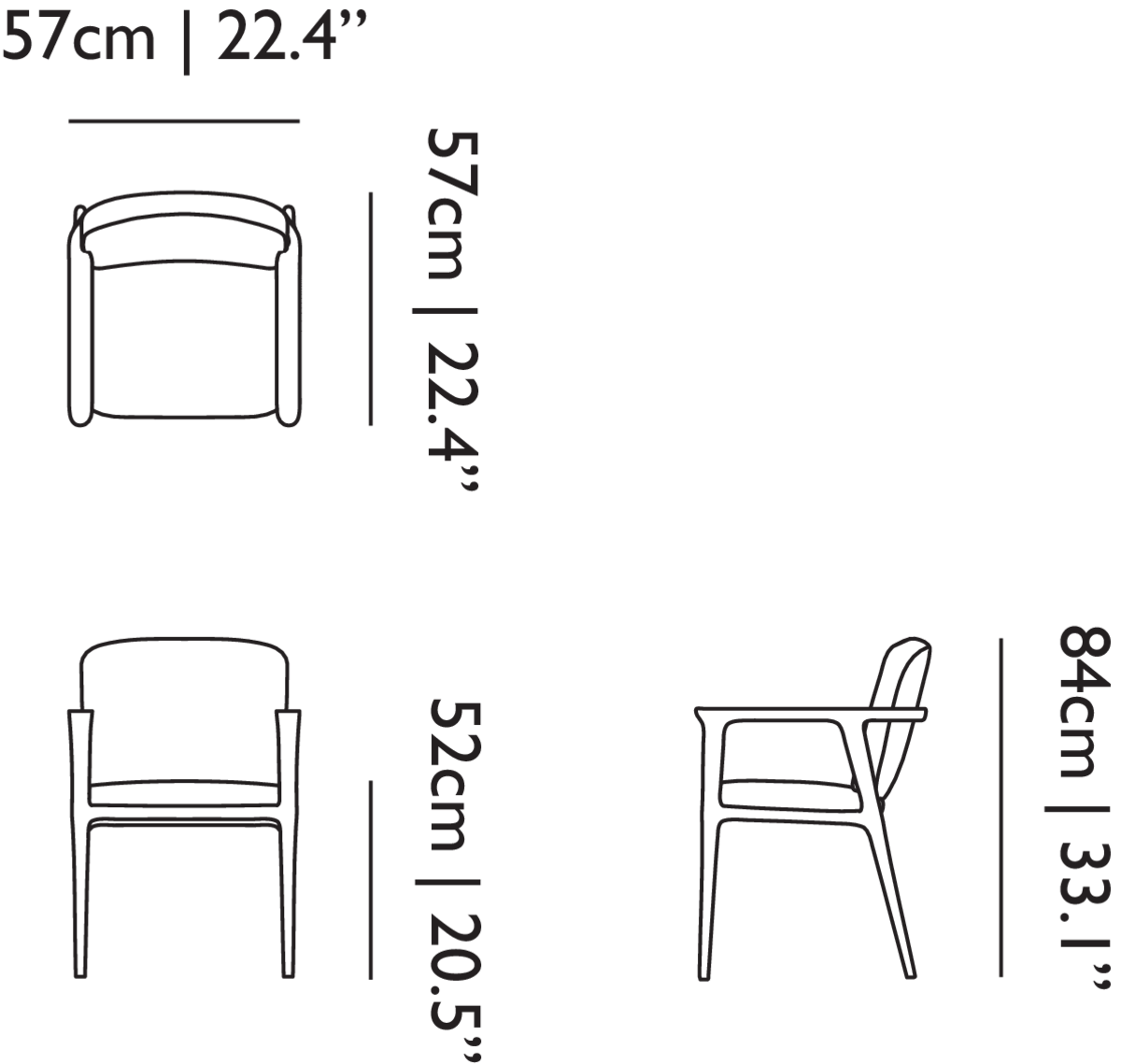 Zio Dining Chair linedrawing with dimensions