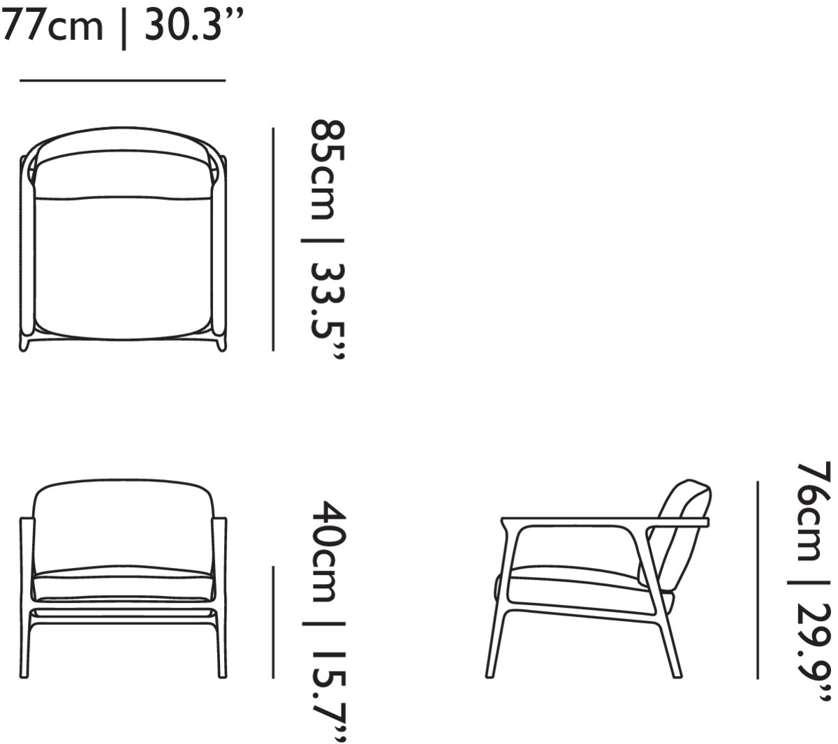 Zio Lounge Chair linedrawing with dimensions