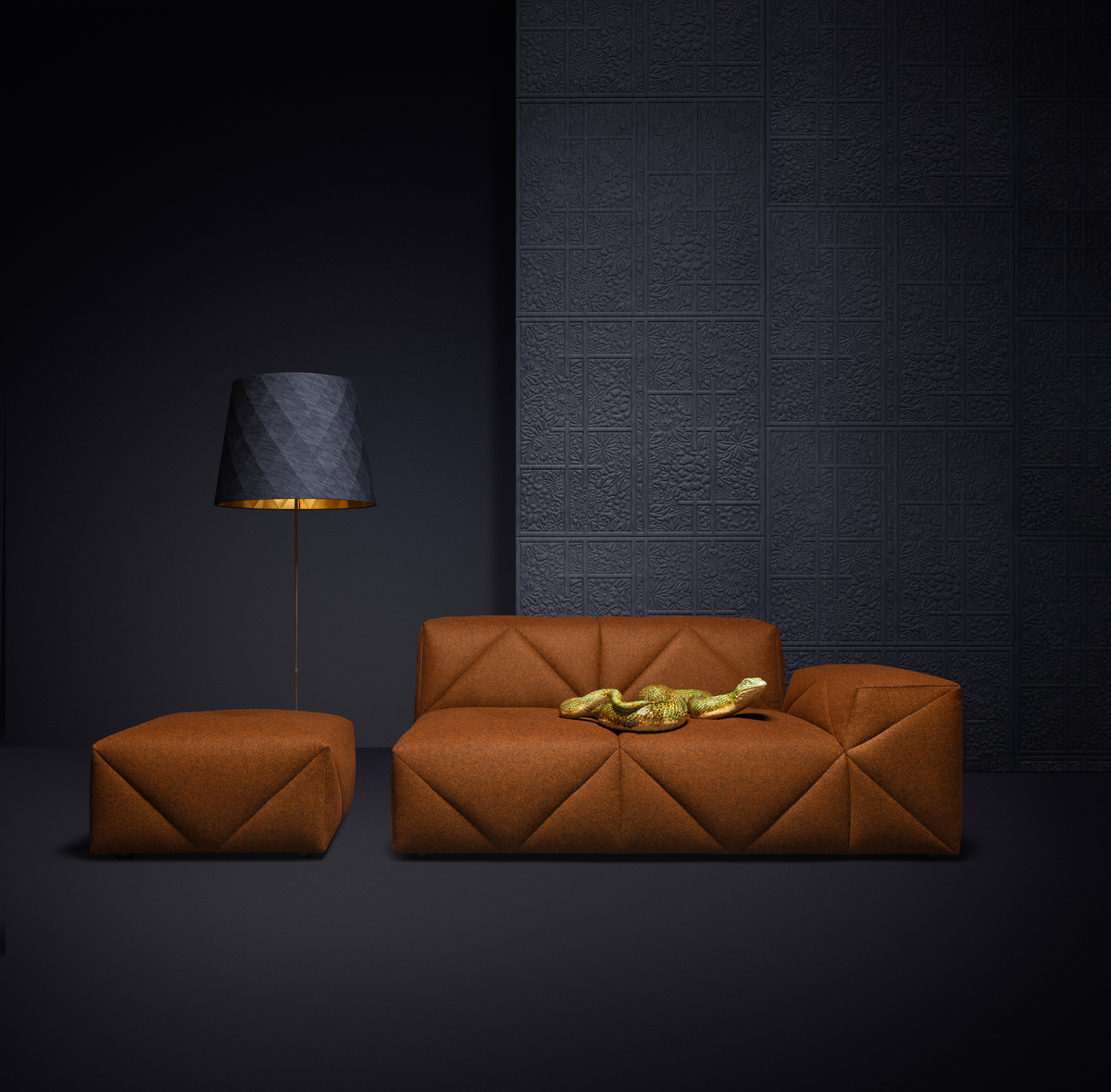 Poetic composition BFF Sofa and Moooi Wallcovering Tokyo Blue