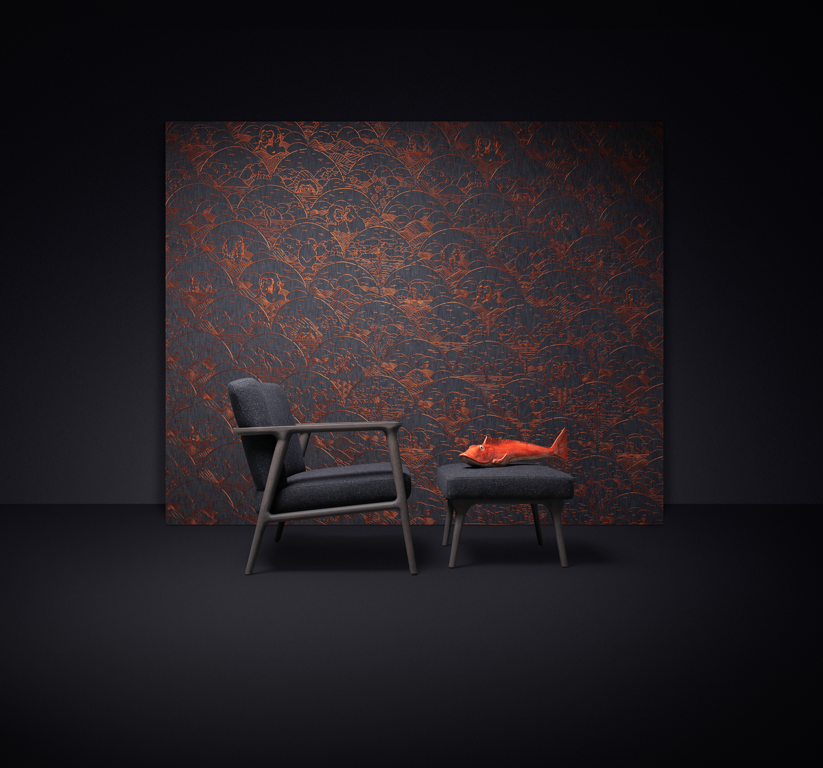 Poetic composition Zio Lounge Chair, Zio Footstool and Moooi Wallcovering Tokyo Blue