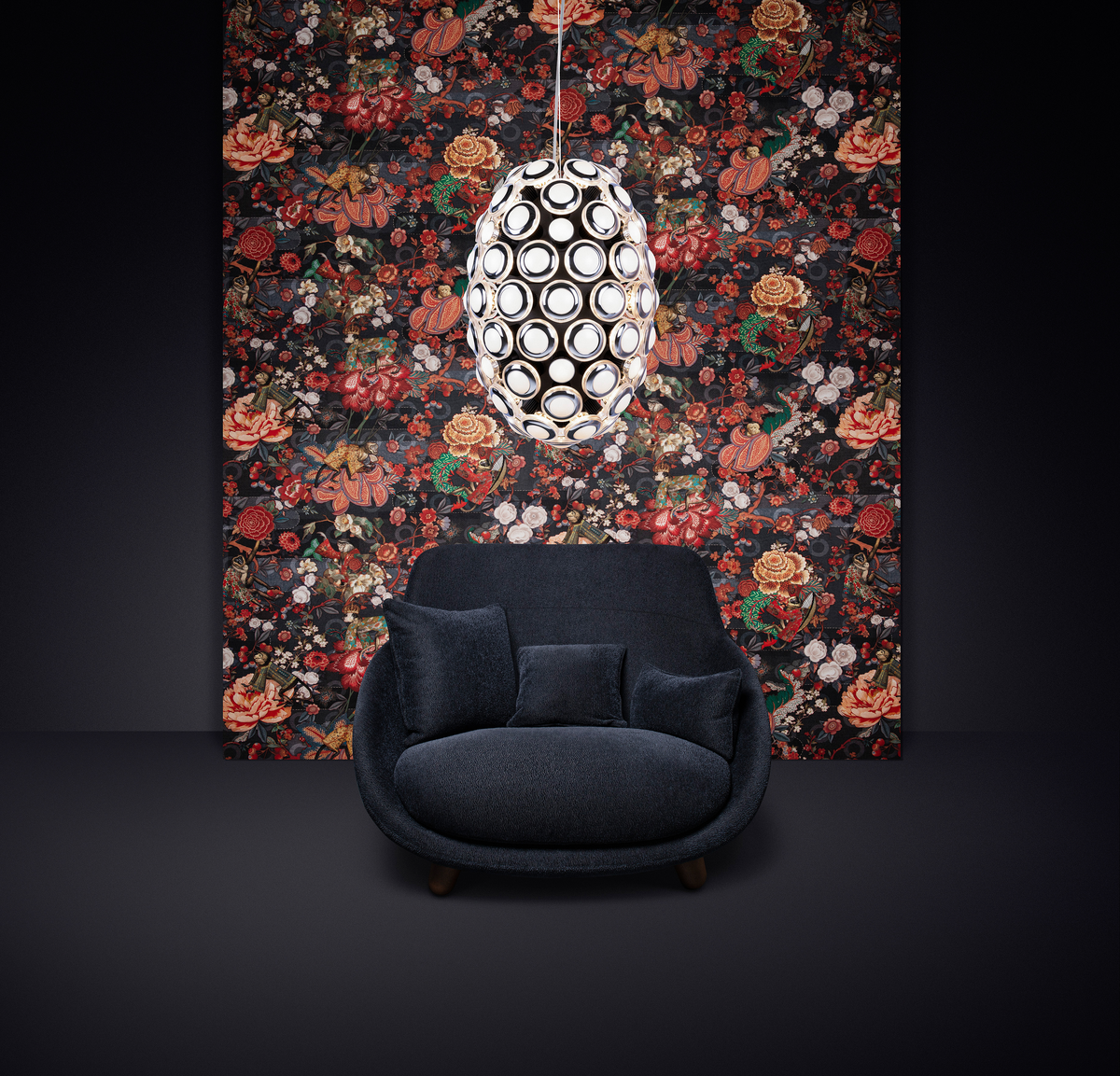 Poetic composition Love Sofa Highback, Iconic Eyes suspension light and Moooi Wallcovering Tokyo Blue