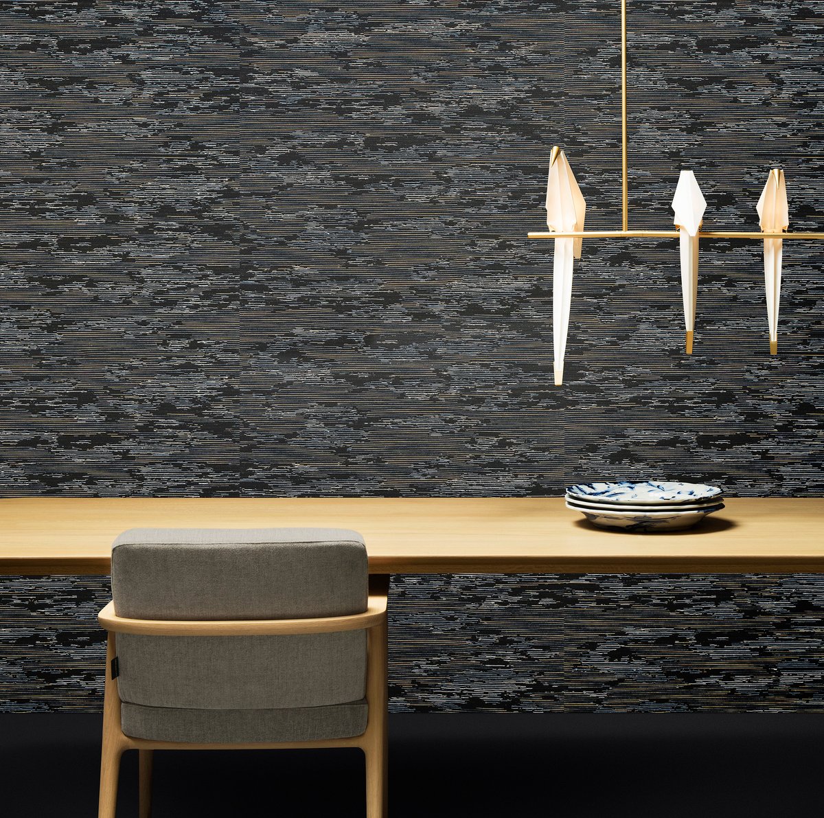 Composition with Nut Dining Chair, Perch Light Branch suspension and Moooi Wallcovering Tokyo Blue