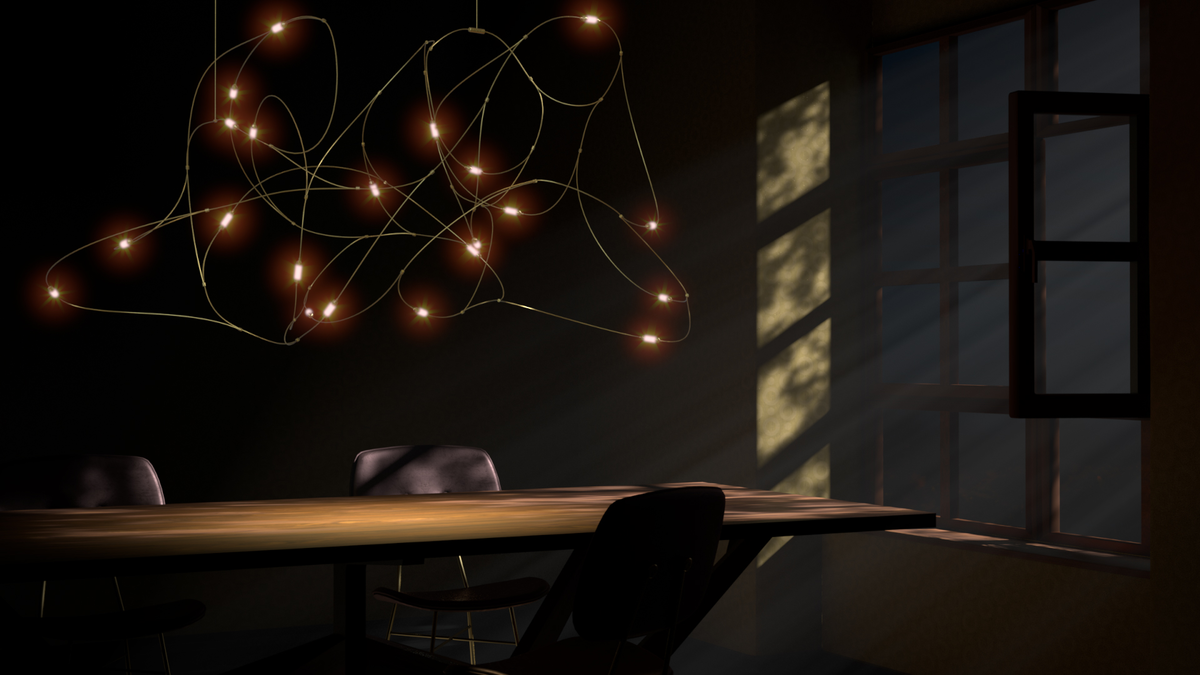 Flock of Light suspension on above dining table